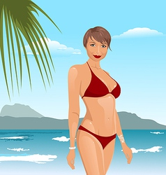 Pretty girl on the beach vector