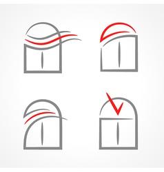 Windows set emblem symbol element icons vector
