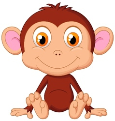 Cute baby monkey cartoon vector