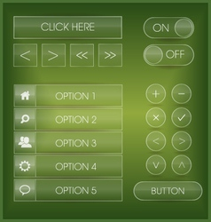 Green user interface web buttons and icons set vector