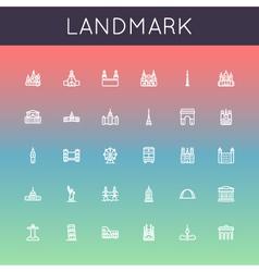 Landmark line icons vector