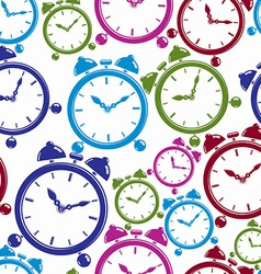 Seamless pattern with clocks wake up idea simple vector
