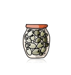 Bank of pickled olives sketch for your design vector