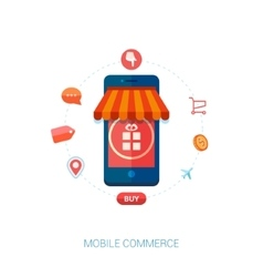 Mobile e-commerce and local shop flat icon vector