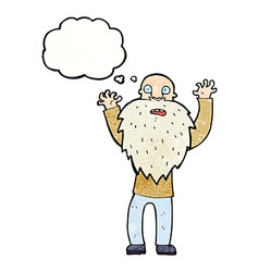 Cartoon frightened old man with beard with thought vector