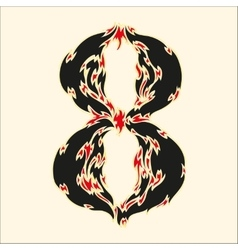 Fiery font number 8 on white vector