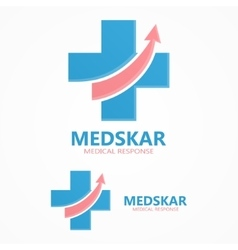 Medical cross with up arrow logo vector image