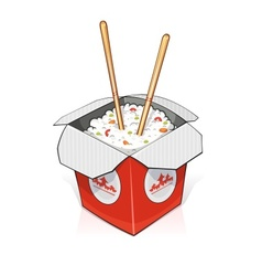 Fast food Rice in paper vector image