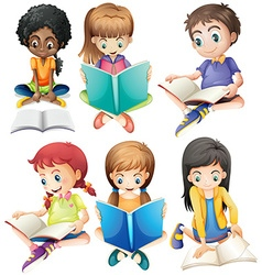 Boys and girls reading books vector