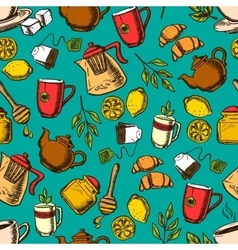 Herbal tea seamless pattern background vector
