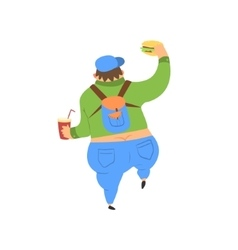 Fat guy walking away vector