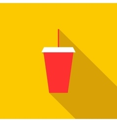 Red cardboard cup with a straw icon flat style vector