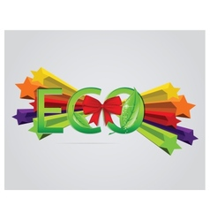 Eco sign with leafs and red ribbons vector