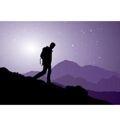 backpacker going down the mountain vector image vector image