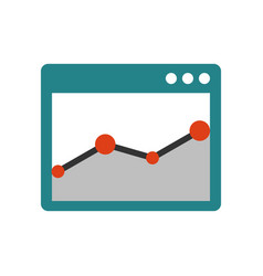 Browser window with chart vector