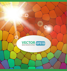 Colorful mosaic background with sunburst flare vector image