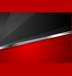 contrast red and black background with metallic vector image vector image