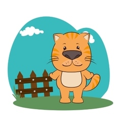 cute animal in farm landscape vector image vector image
