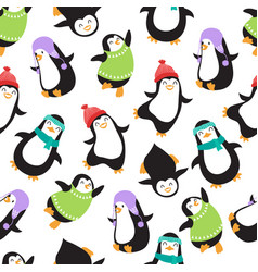 cute christmas baby penguins seamless vector image