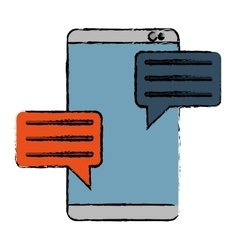 Drawing smartphone with bubble speak media vector