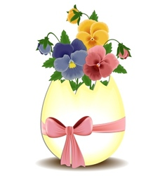 Easter greetings card with pansies vector image vector image