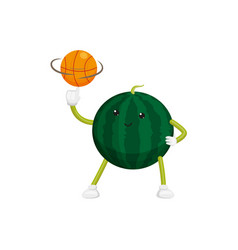flat watermelon character basketball player vector image