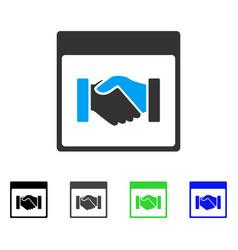 Handshake calendar page flat icon vector