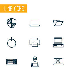 Hardware outline icons set collection of notebook vector