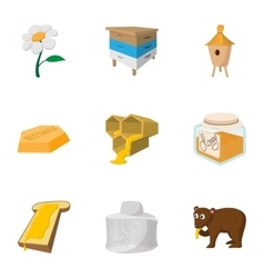 Honey production icons set cartoon style vector