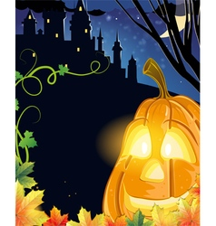 Jack o lantern near the haunted castle vector