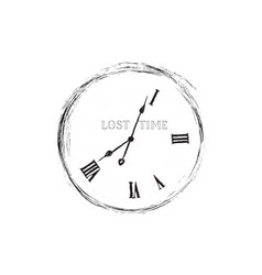 lost time concept doodle watch dial with damaged vector image vector image