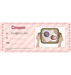 Love coupon for breakfast in bed vector image