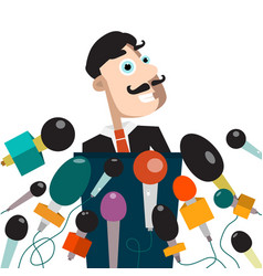 Man with microphones businessman or politician on vector