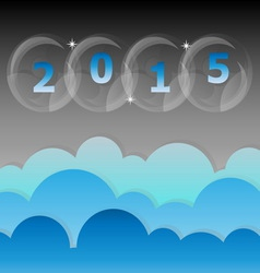 New year 2015 night star and cloud sky background vector