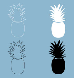 Pineapple the black and white color icon vector
