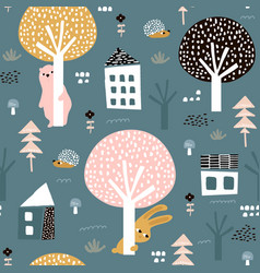 Seamless pattern with bunny bear hedgehog and vector