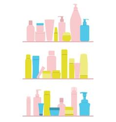 set of cosmetic bottles on shelf vector image