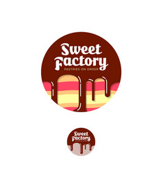 Sweet factory logo pastry emblem cake chocolate vector