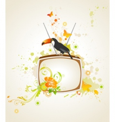 TV on grunge background vector image vector image