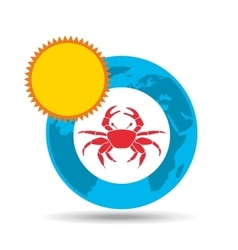 vacation around world sunny red crab vector image vector image