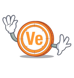 Waving veritaseum coin character cartoon vector