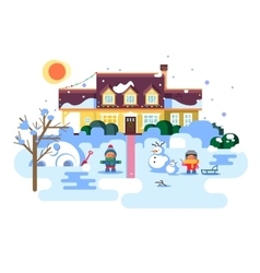 Winter night children play vector image vector image
