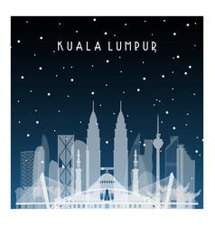 winter night in kuala lumpur night city in flat vector image