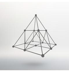 Wireframe mesh Polygonal pyramid Pyramid of the vector image