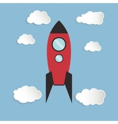 Single rocket icon and clouds vector