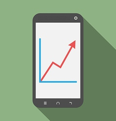 Smartphone with growth graph vector image