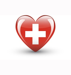 Heart-shaped icon with flag of switzerland vector