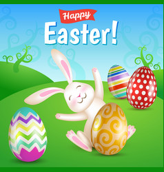 White cheerful easter bunny sitting in the meadow vector