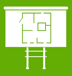 Project of house on a board icon green vector