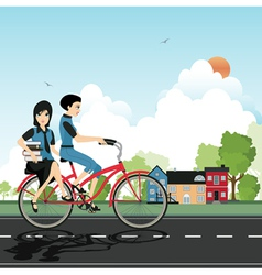 Students cycling vector